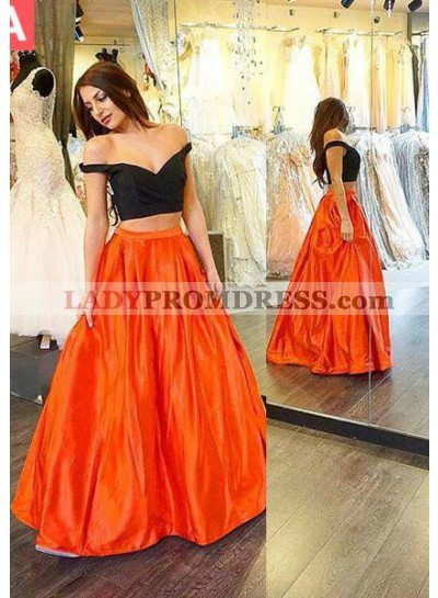 Sexy A-Line/Princess Off-the-Shoulder Two Pieces Prom Dresses