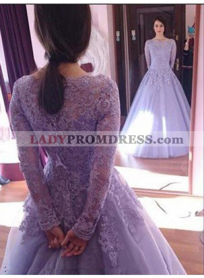 Lace Long Sleeve A-Line/Princess Tulle Prom Dresses