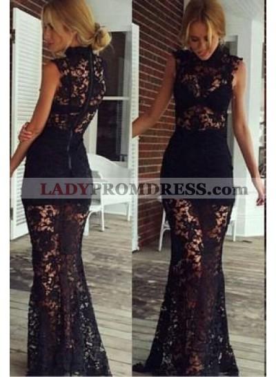 2019 Junoesque Black Mermaid/Trumpet High Neck Sleeveless Floor-Length/Long Lace Prom Dresses