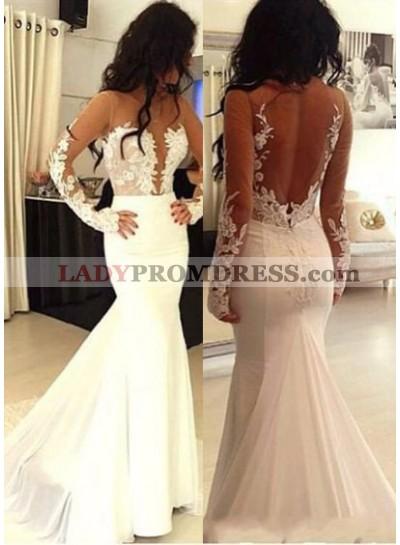 2019 Unique White Mermaid/Trumpet Long Sleeve Natural Zipper Appliques Prom Dresses
