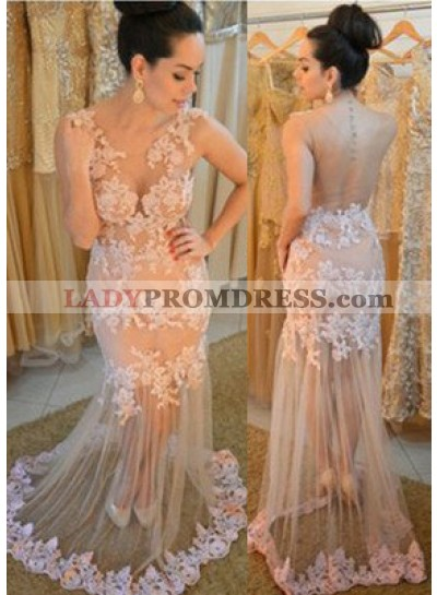 Mermaid/Trumpet V-Neck Long Sleeve Natural Zipper Tulle Pearl Prom Dresses