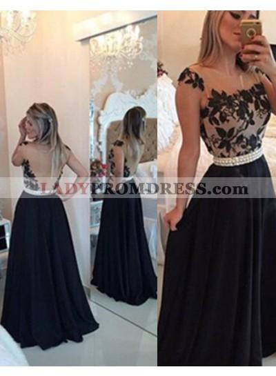 2020 Junoesque Black A-Line/Princess Straps Beading Backless Chiffon Prom Dresses