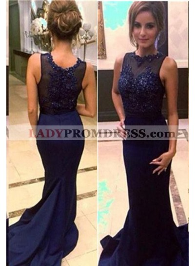 LadyPromDress 2018 Blue Cheap Prom Dresses Floor-Length/Long Mermaid/Trumpet Embroidery Satin