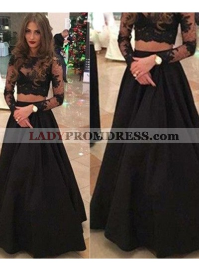 2020 Junoesque Black Long Sleeve A-Line/Princess Lace Two Pieces Prom Dresses