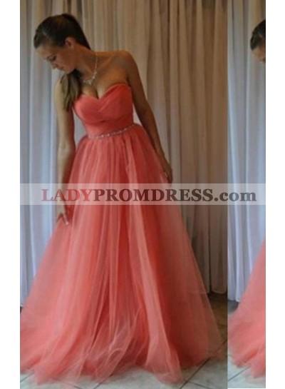 A-Line/Princess Sweetheart Sleeveless Floor-Length/Long Tulle Water Melon Prom Dresses
