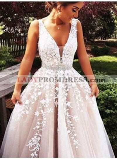 2020 Unique White A-Line/Princess V-Neck Sleeveless  Floor-Length/Long Tulle Prom Dresses