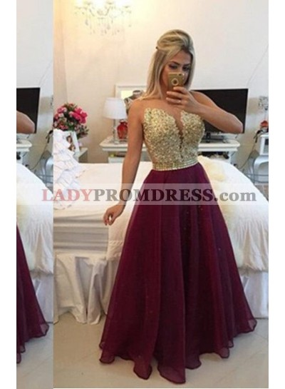 Floor-Length/Long A-Line/Princess Floor-Length/Long Chiffon Burgundy Prom Dresses