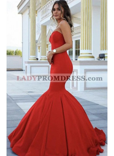 2021 Gorgeous Red Chic Sweetheart Mermaid/Trumpet Satin Prom Dresses