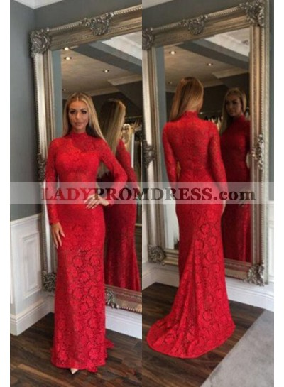 2018 Gorgeous Red High Neck Long Sleeve Column/Sheath Lace Prom Dresses