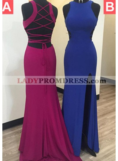LadyPromDress 2018 Blue Lace-Up Side-Slit Satin Prom Dresses