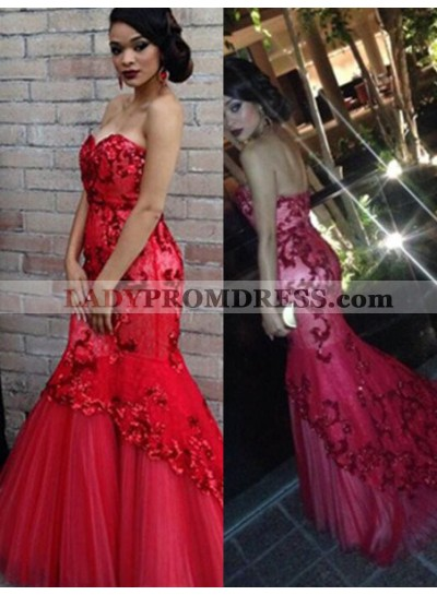 2019 Gorgeous Red Beading Sweetheart Appliquues Mermaid/Trumpet Tulle Prom Dresses