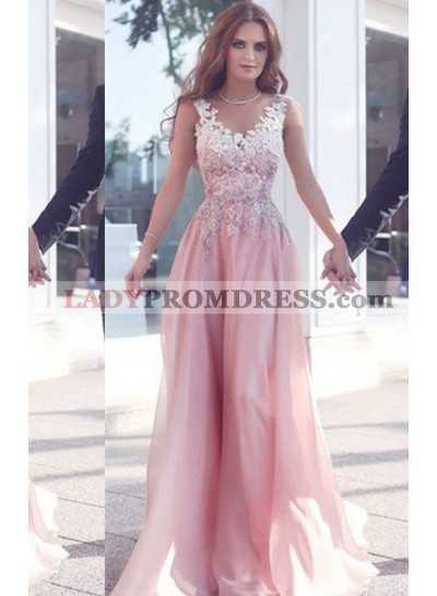 Sleeveless Floor-Length/Long Appliques A-Line/Princess Chiffon 2019 Glamorous Pink Prom Dresses