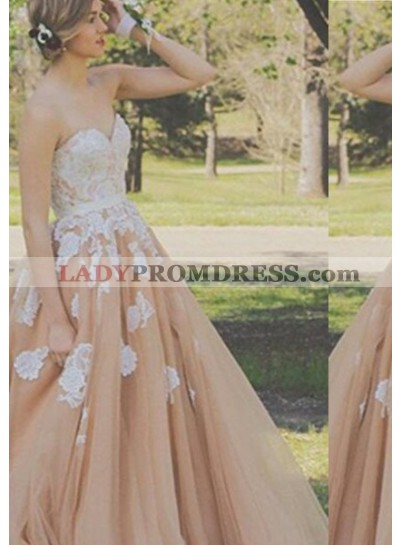 A-Line/Princess Sweetheart Sleeveless Embroidery Tulle Champagne Prom Dresses