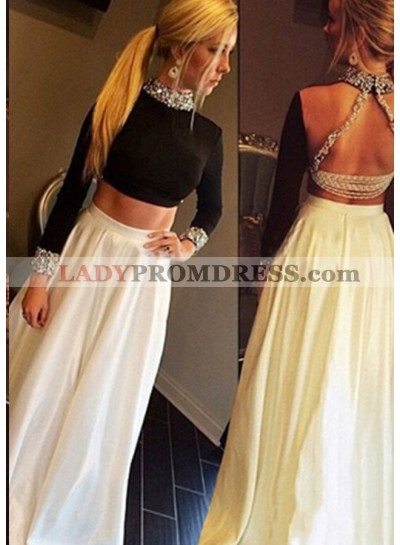 Beading High Neck Long Sleeve Satin Two Pieces Prom Dresses