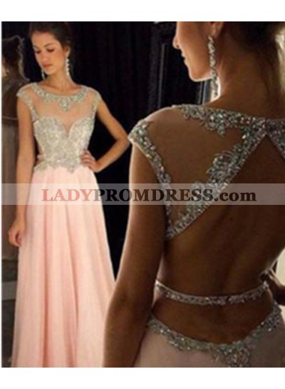 Floor-Length/Long A-Line/Princess Capped Sleeves Chiffon 2021 Glamorous Pink Prom Dresses