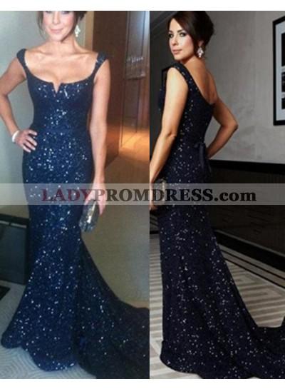 LadyPromDress 2019 Blue Floor-Length/Long Mermaid/Trumpet Straps Sequined Prom Dresses