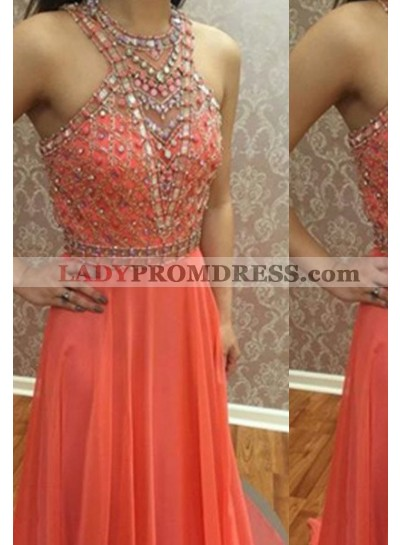 A-Line/Princess Sleeveless Natural Backless Sweep/Brush Train Beading Chiffon Orange Prom Dresses