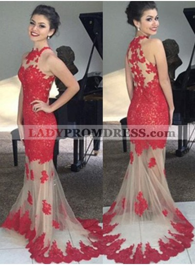 2019 Gorgeous Red Prom Dresses Floor-Length/Long Mermaid/Trumpet Sleeveless Lace
