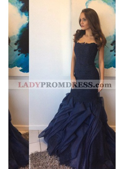 Navy Blue Layers Strpless Sweep Train Lace Prom Dresses