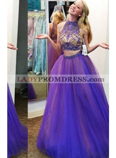 High Neck Beading  A-Line/Princess Tulle Two Pieces Prom Dresses