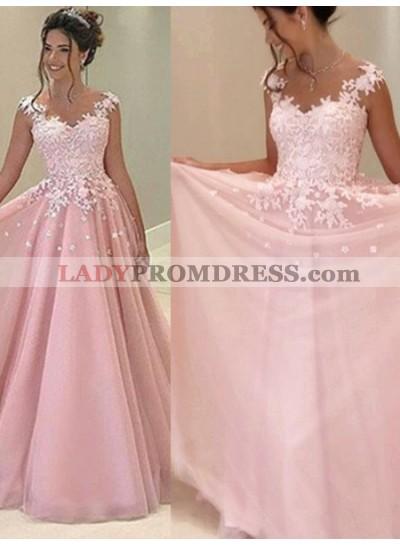 2020 Glamorous Pink Appliques V-Neck A-Line/Princess Tulle Prom Dresses