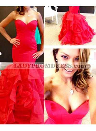 2020 Gorgeous Red Sweetheart Layers Mermaid/Trumpet Organza Prom Dresses
