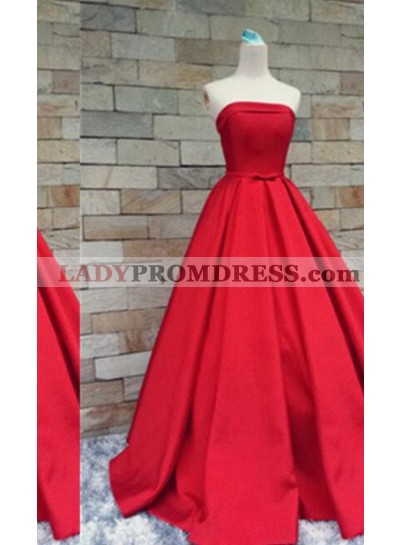 2020 Gorgeous Red Floor-Length/Long A-Line/Princess Strapless Floor-Length/Long Satin Prom Dresses