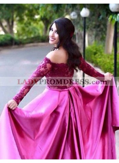 A-Line/Princess Off-the-Shoulder Long Sleeve Natural  Satin Fuchsia Prom Dresses