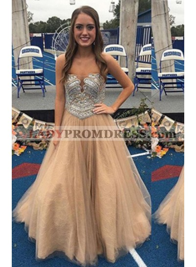Prom Dresses Champagne Strapless Crystal Sleeveless A-Line/Princess Tulle