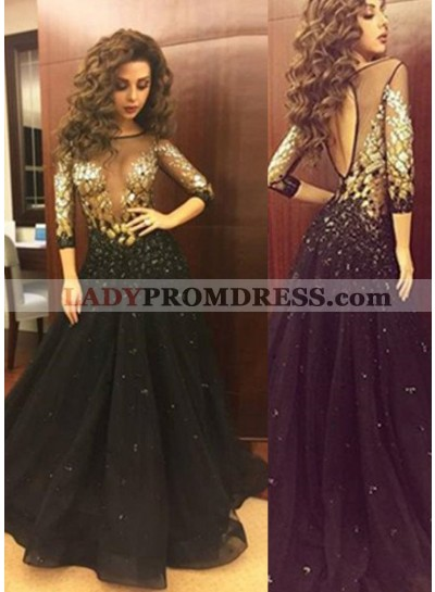 2019 Junoesque Black A-Line/Princess 3/4 Length Sleeves Natural Backless Sweep/Brush Train Prom Dresses