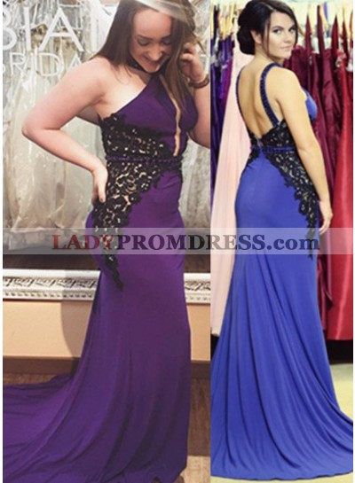 Appliques Straps Stretch Satin Prom Dresses Purple