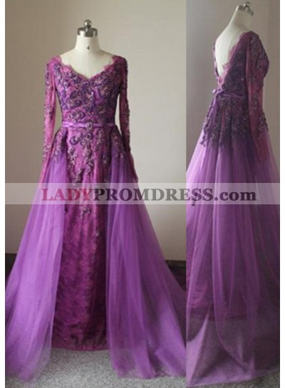 Fuchsia A-Line/Princess V-Neck Long Sleeve Natural Zipper Sweep/Brush Train Prom Dresses
