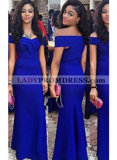LadyPromDress 2019 Blue Off-the-Shoulder Zipper Mermaid/Trumpet Stretch Satin Prom Dresses