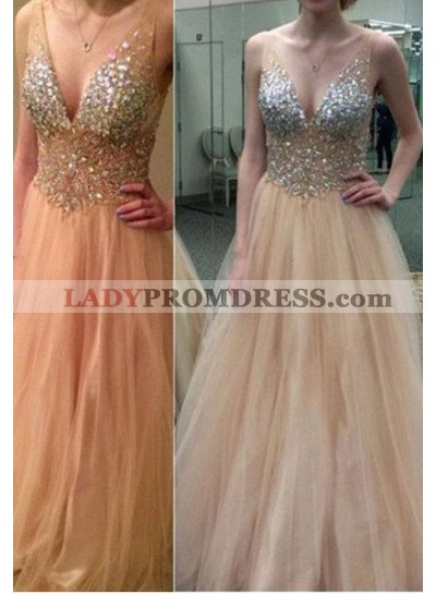 Floor-Length/Long Princess V-Neck Sequins Tulle Champagne Prom Dresses