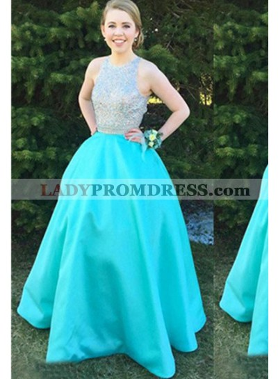 Beading Round Neck Floor-Length/Long A-Line/Princess Satin Prom Dresses