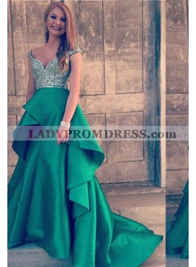 Beading Layers 2019 Gorgeous Red A-Line/Princess Satin Prom Dresses