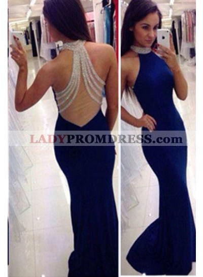 LadyPromDress 2021 Blue Mermaid/Trumpet Halter Sleeveless Natural Zipper Chiffon Prom Dresses