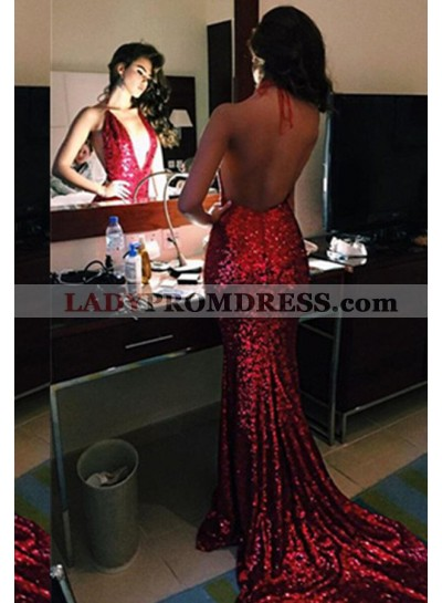 Sexy 2020 Gorgeous Red Sequins Backless Mermaid/Trumpet Prom Dresses