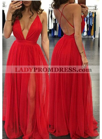 2021 Gorgeous Red Sexy Deep V-Neck A-Line/Princess Prom Dresses
