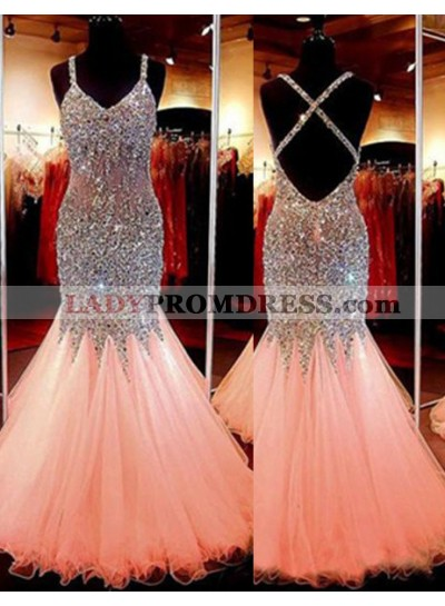 2019 Glamorous Pink Cheap Prom Dresses Mermaid/Trumpet Sequins Spaghetti Straps Tulle
