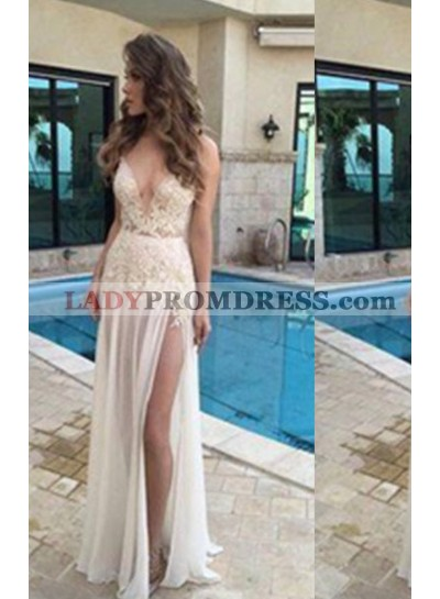 A-Line/Princess 2020 Unique White V-Neck Sleeveless Natural Backless Floor-Length/Long Chiffon Prom Dresses