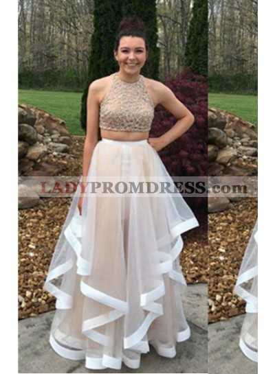 A-Line/Princess Halter Sleeveless Natural Zipper Floor-Length/Long Tulle Champagne Prom Dresses