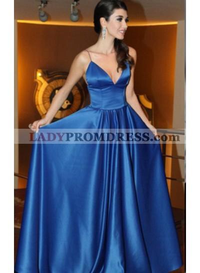 LadyPromDress 2021 Blue Prom Dresses Spaghetti Straps A-Line/Princess Satin