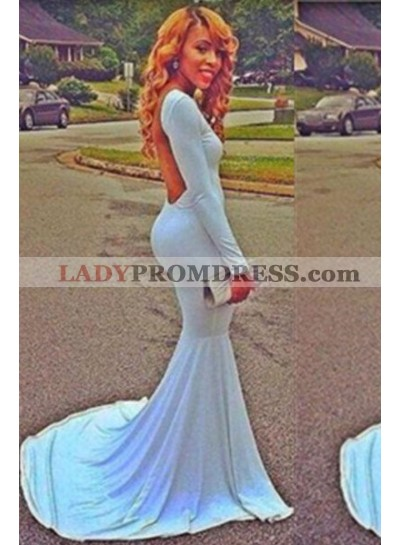 LadyPromDress 2019 Blue Prom Dresses Mermaid/Trumpet Backless Stretch Satin