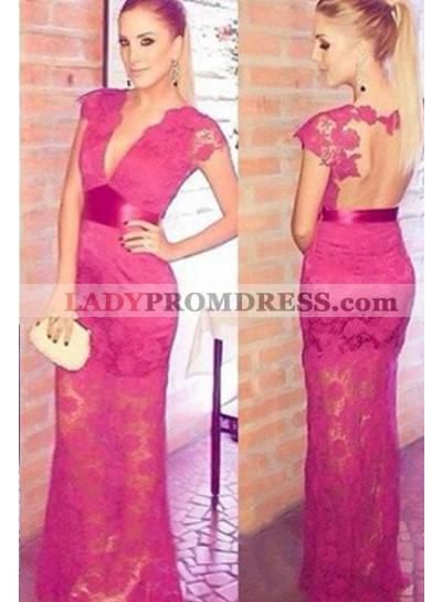 Sexy Deep V-Neck Sheer Back Column/Sheath Lace Prom Dresses