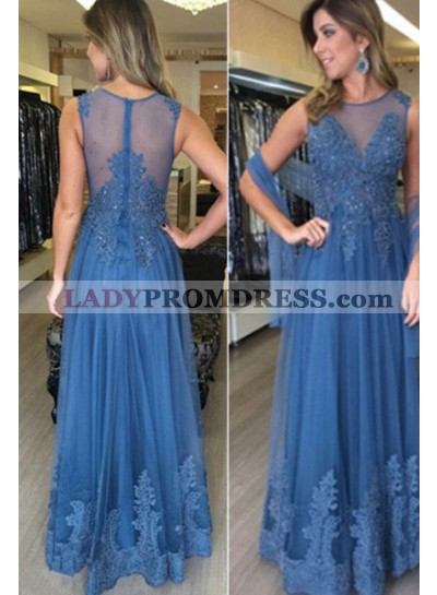 LadyPromDress 2019 Blue Appliques Sleeveless Round Neck A-Line/Princess Tulle Prom Dresses