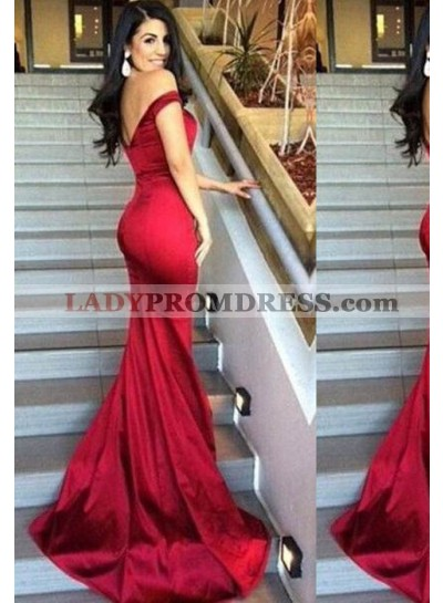 2019 Gorgeous Red Off-the-Shoulder Column/Sheath Taffeta Prom Dresses