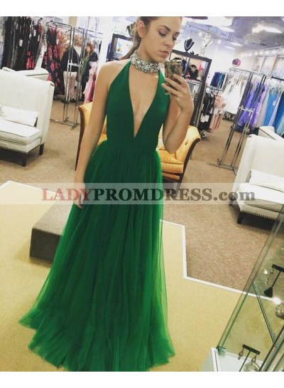 2020 Cheap Princess/A-Line Emerald Tulle V-neck Prom Dresses