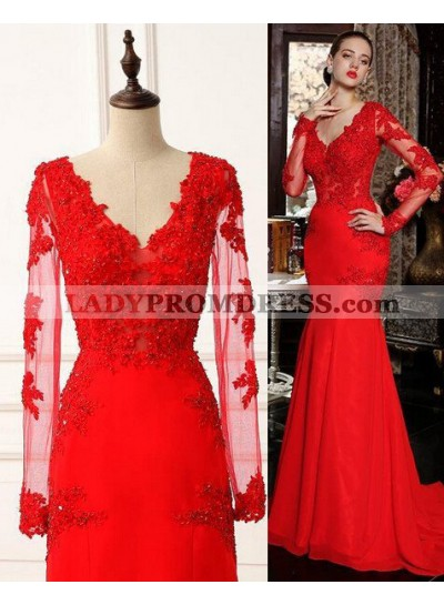 2019 Gorgeous Red Appliques Long Sleeve Satin Chiffon Prom Dresses