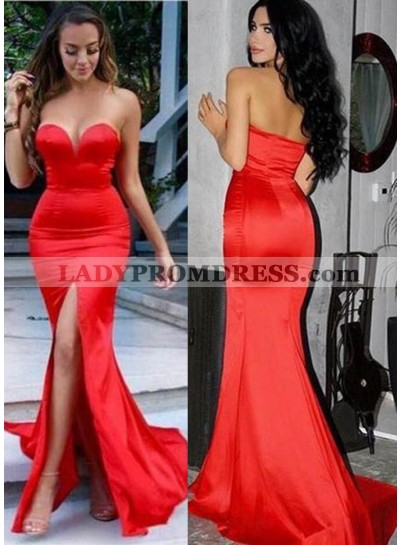 2019 Gorgeous Red Sweetheart Mermaid/Trumpet Taffeta Prom Dresses
